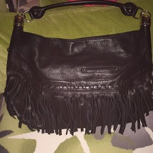B. Makowski Black Leather Fringed Shoulder Bag